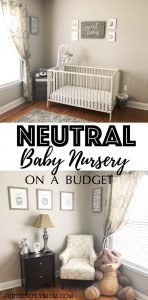 Neutral Nursery on a Budget. This nursery is perfect for a baby boy or girl or surprise gender. Just had colored accents to make it more gender-specific.