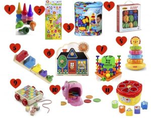 Best developmental toys for your 1 year old, including items that help to develop cognitive learning, fine motor skills, and imaginative play.