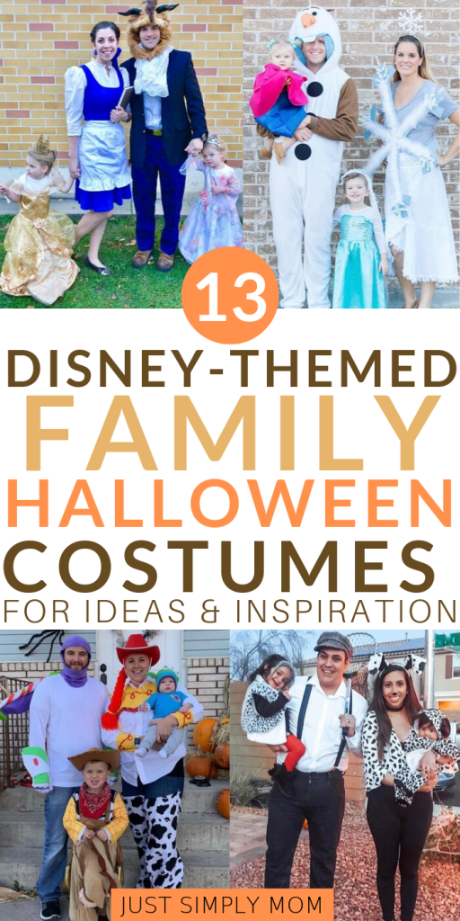 Ideas for Disney-themed family halloween costumes. You'll find great inspiration here for babies, toddlers, and children to love these fun, unique costumes.