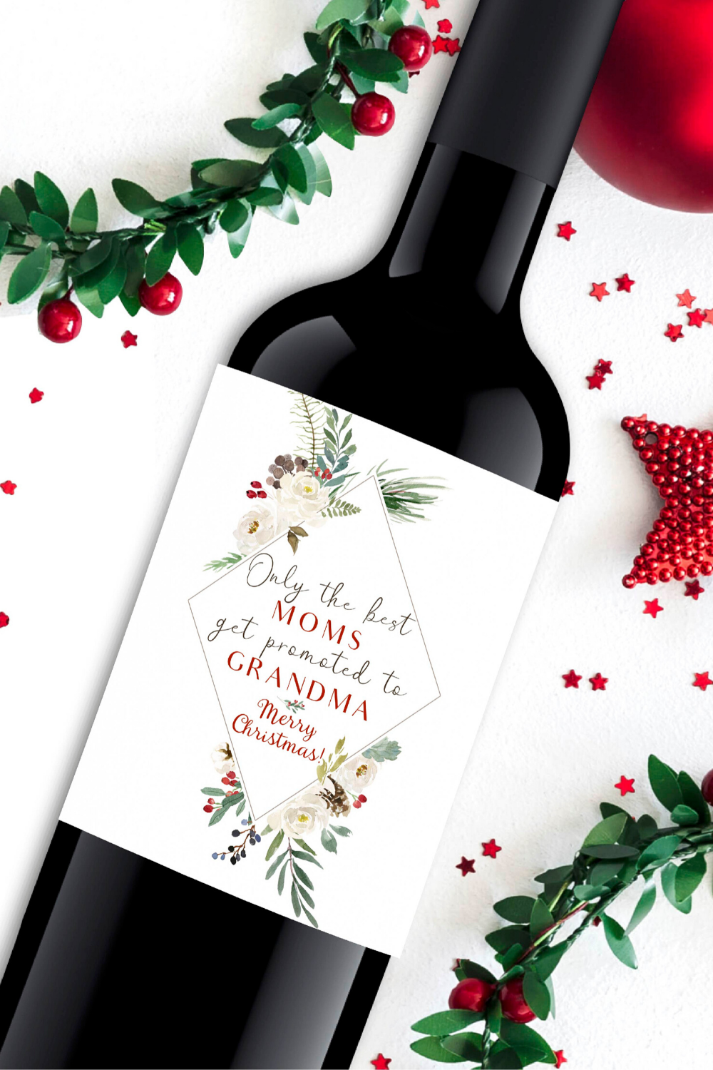 Free Printable Christmas Pregnancy Announcement Wine Labels