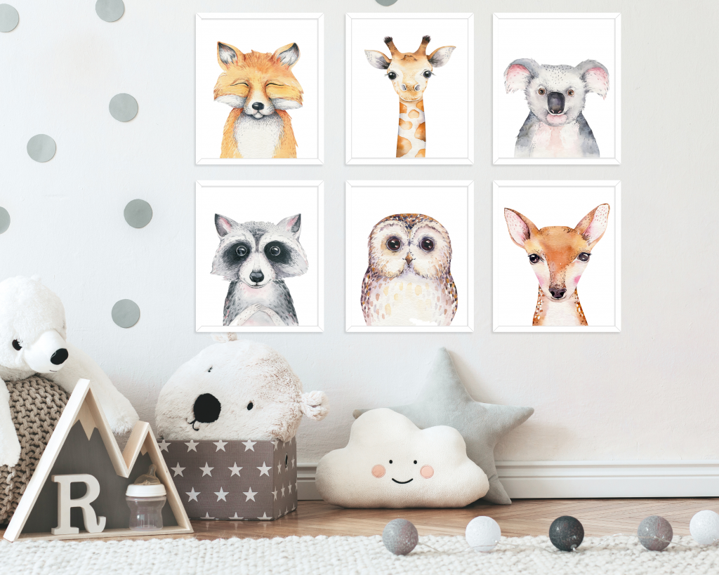 Free printable nursery animal designs for you to download and print for frames in your baby boy or girl's neutral nursery.