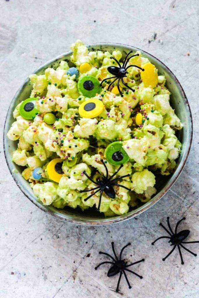 healthy Halloween snack Popcorn monster