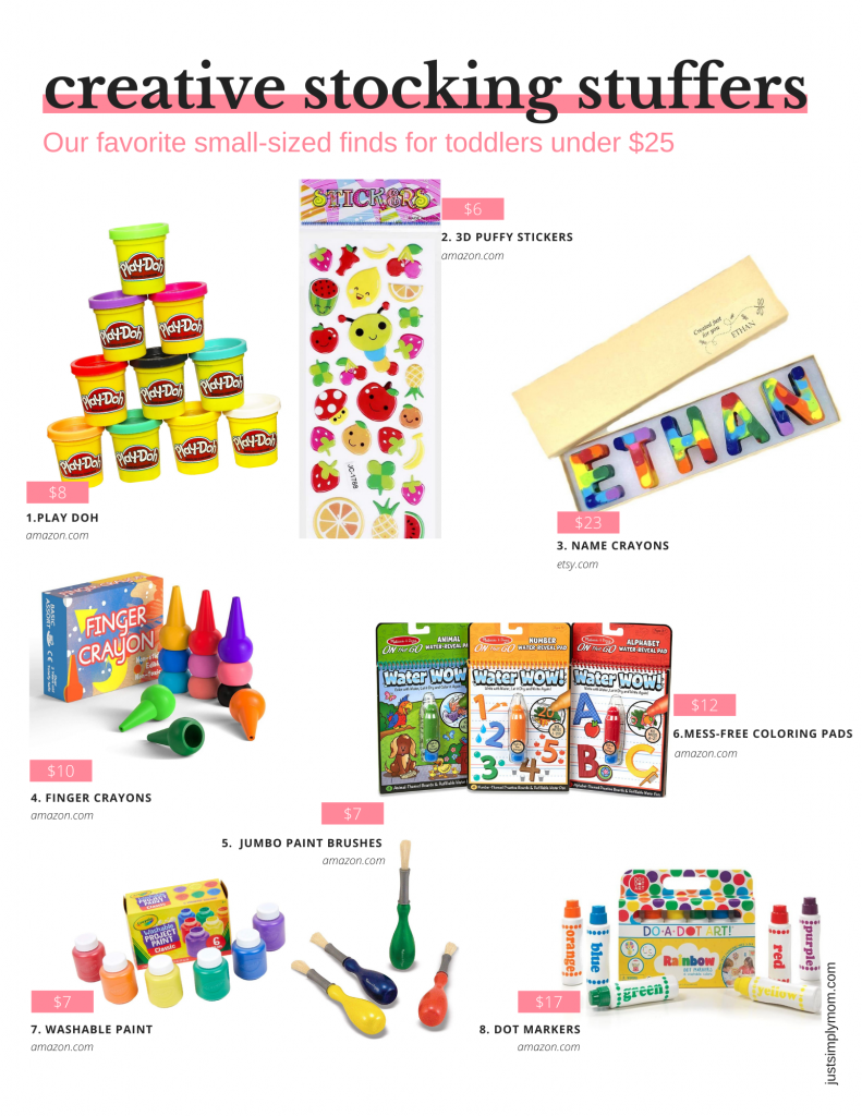 Need ideas for toddler stocking stuffers for this Christmas 2020? Here are some educational, creative, wearable, and toy ideas that kids love under $15 $20 or $25.
