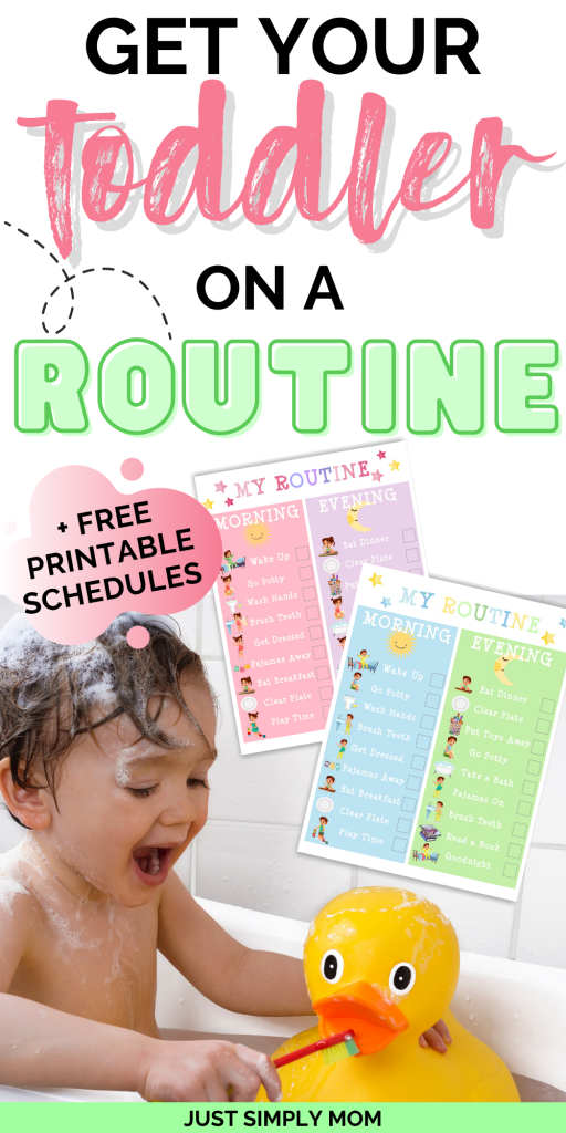 It's important to establish a daily routine or schedule for your toddler to make their days more predictible, resulting in fewer tantrums and outbursts. Get your free printable toddler routine and schedule for boys and girls here.