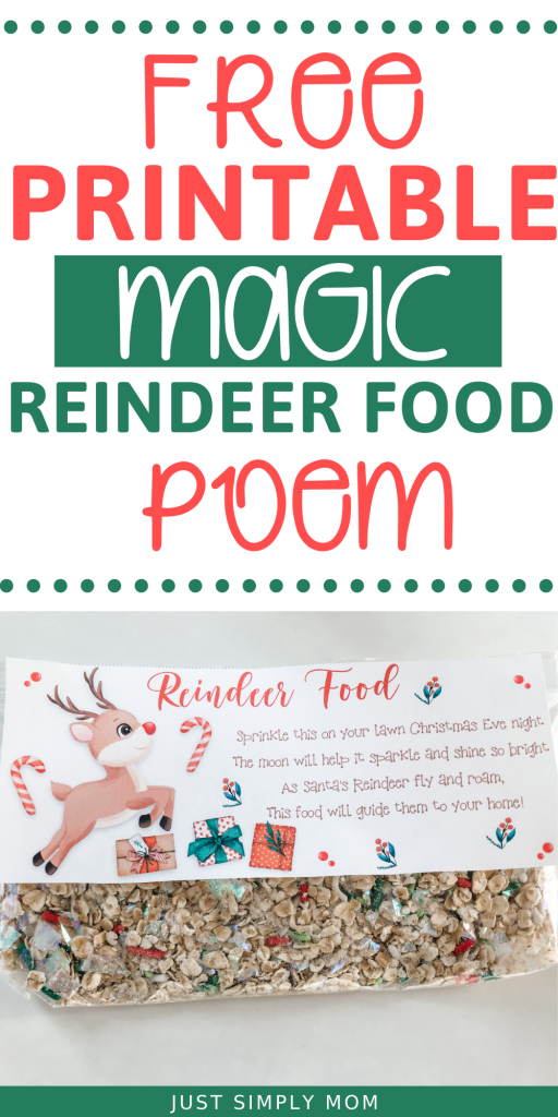 A simple recipe for how to make magic reindeer food for Christmas eve with a reindeer food free printable poem to attach to your baggy to make it more festive