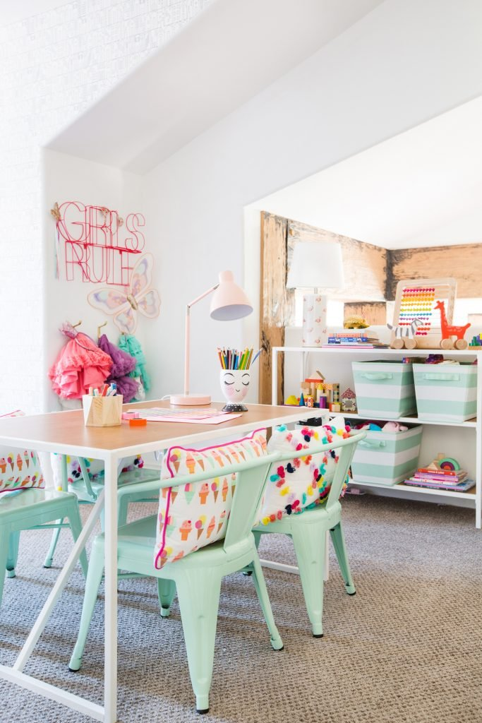 Design a chic & modern toddler playroom that matches the decor of your home with these ideas and inspiration for a practical storage space